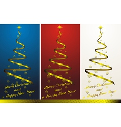 set of three abstract christmas trees with golden vector image