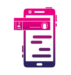 silhouette smartphone with social chat bubble vector image