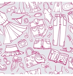 Summer fashion seamless patternWoman wearDoodle vector image