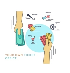 Buying tickets flat line contour of vector image