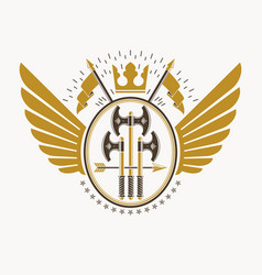 classy emblem made with eagle wings decoration vector image