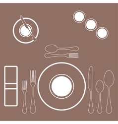 decorated table with plate knife and fork vector image