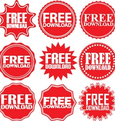 Free download red label Free download red sign vector image vector image