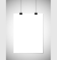 Hanging white paper against gray background vector image vector image