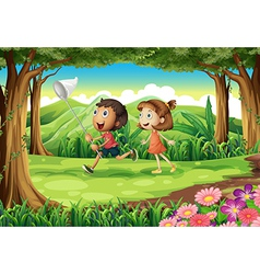 Kids playing at the woods vector image vector image