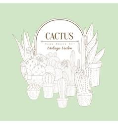 Vintage Sketch With Cactus vector image vector image
