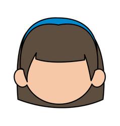 cute cartoon girl laugh face expression vector image