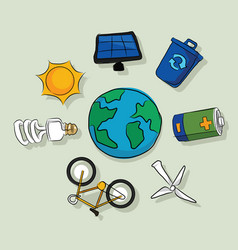 energy alternative icons solar panel wind vector image vector image