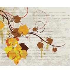 grunge autumn floral background vector image