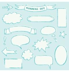 Hand-drawn borders set vector image