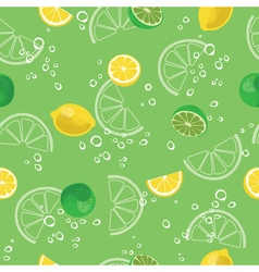 Lemon and lime lemonade green seamless pattern vector image