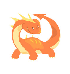 orange dragon mythical and fantastic animal vector image