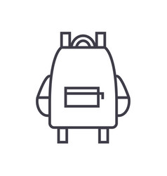 school bag line icon sign on vector image vector image
