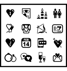 set of valentines day and love icons vector image