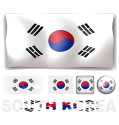 South Korea flag in different designs vector image