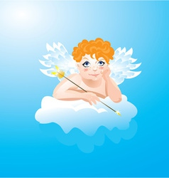 Valentines Day card with funny angel vector image
