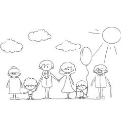 Cartoon Family outline vector image