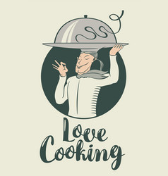 cooking banner with chef with a tray on his head vector image