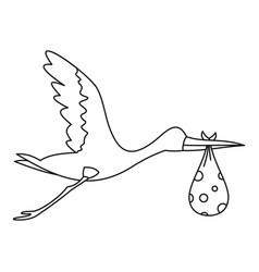 flying stork with baby icon outline style vector image