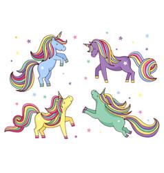 funny cartoon unicorn set vector image