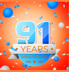 ninety one years anniversary celebration vector image vector image