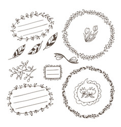 set of wreaths and labels vector image