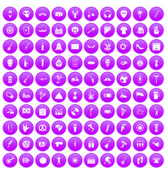 100 street festival icons set purple vector