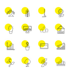 16 growth icons vector image