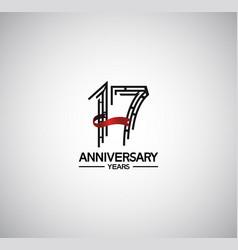 17 years anniversary logotype flat design vector