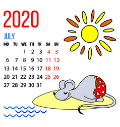 2020 new year calendar july month vector