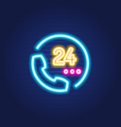 24 7 phone simple luminous neon outline colorful vector image
