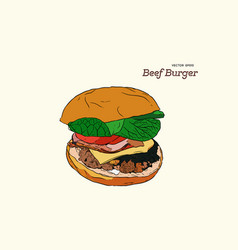 a burger drawing vector image