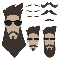 A set of bearded men different shapes of whiskers vector image