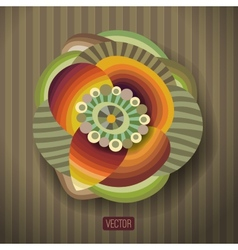 abstract flower with a round label vector image