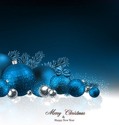 Background with fir branches and christmas balls vector