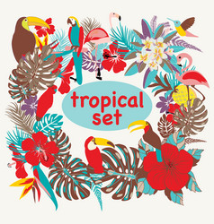 background with of tropical birds palm leaves and vector image