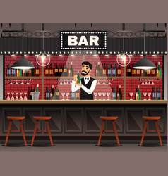 bar interior realistic composition vector image