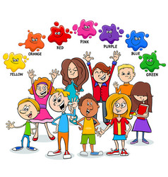 Basic colors educational page with kids vector