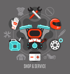 Bike shop and service vector
