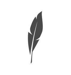 Black feather symbol on white background vector
