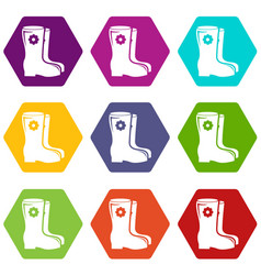 Boots icons set 9 vector