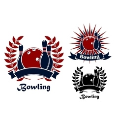 Bowling retro emblems with balls and ninepins vector