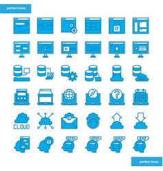browser and interface blue icons set style vector image