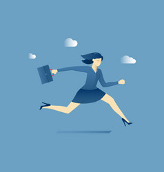 Business woman hurries with a briefcase vector