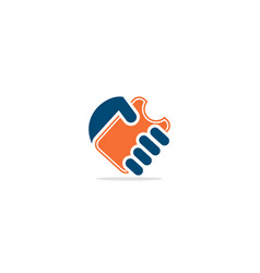 card hand logo vector image