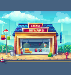 Cartoon background the garage vector