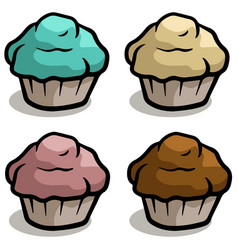 cartoon chocolate cake muffin icon set vector image