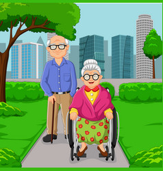 cartoon elderly couple in park vector image