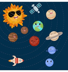 Cartoon smiling planets and sun vector image