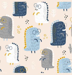 childish seamless pattern with cute baby dinozaurs vector image